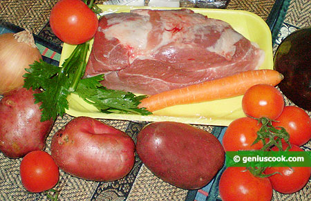 Ingredients for Homemade Roast with Pork and Herbs