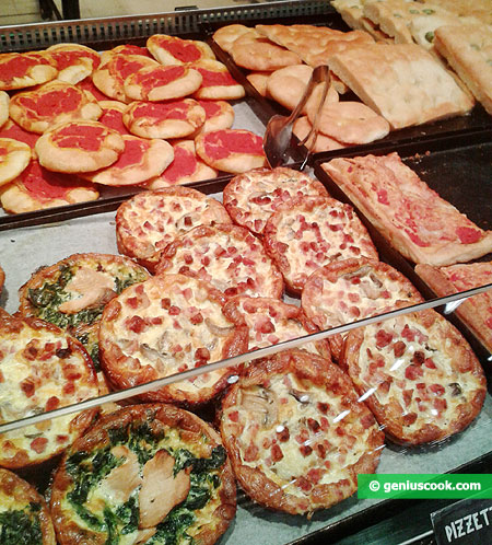 Different pizza, focaccia and pizzette
