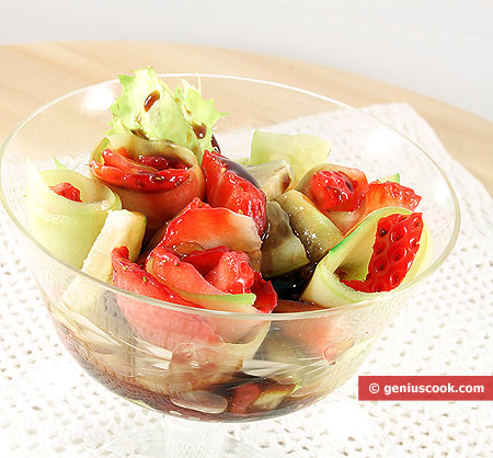 Strawberry and cucumber cocktail salad