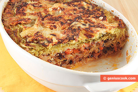 Rice Timbale with Savoy Cabbage
