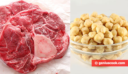 Ingredients for ossobuco with mashed chickpeas