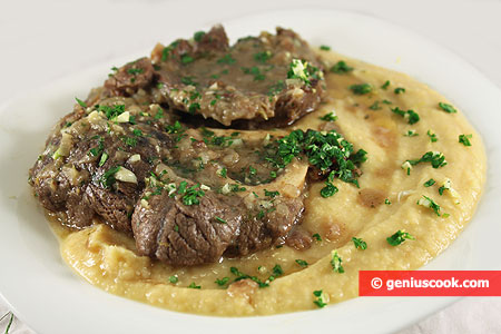 Ossobuco with mashed chickpeas