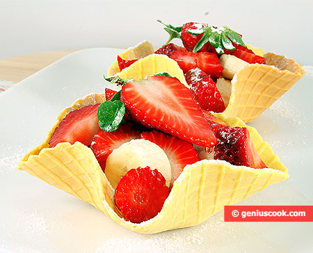 Waffle Baskets with Fruit