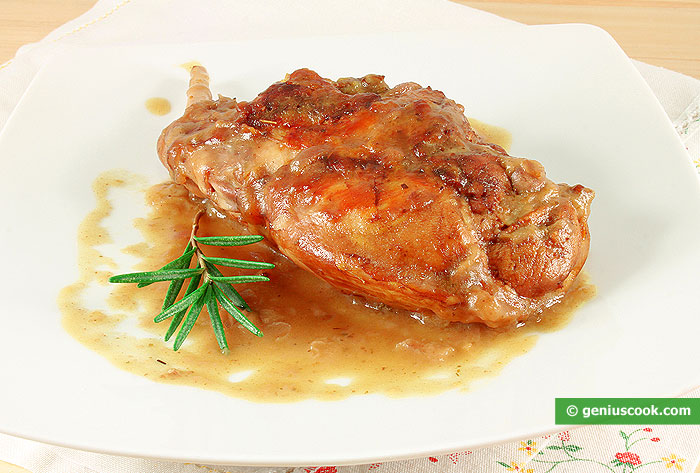 Rabbit Braised in Red Wine with Rosemary