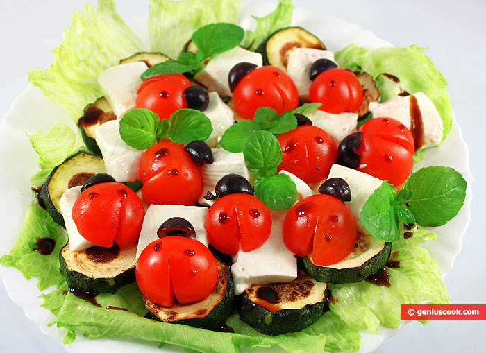 Zucchini Appetizer with Cheese and Tomatoes