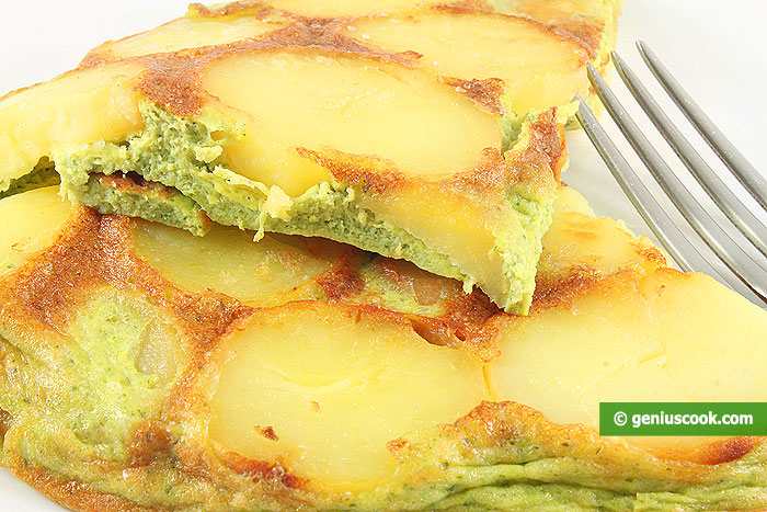 Frittata with Potatoes and Pesto Sauce