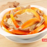 Chestnut Cream Dessert with Persimmon and Cookies
