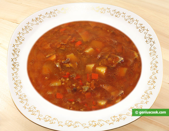 Soup with Mushrooms and Spelt