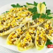 Endive Appetizer with Corn, Cheese and Capers