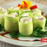 Cucumber Rolls with Anchovies and Cream Cheese