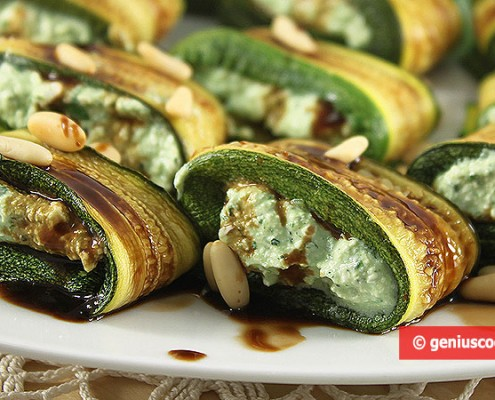 Dietetic Zucchini Rolls with Cheese and Herbs