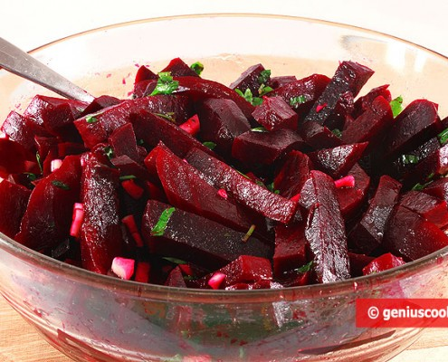 Dietary Red Beet Salad with Garlic and Parsley