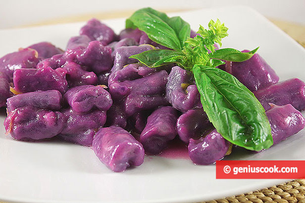 Purple Gnocchi with Lemon Sauce