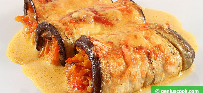 Eggplant Rolls Stuffed with vegetables. And Cooked with Cream