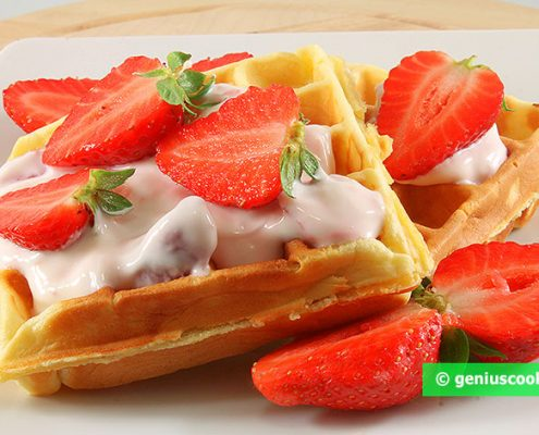 Waffles with Ricotta and Strawberry