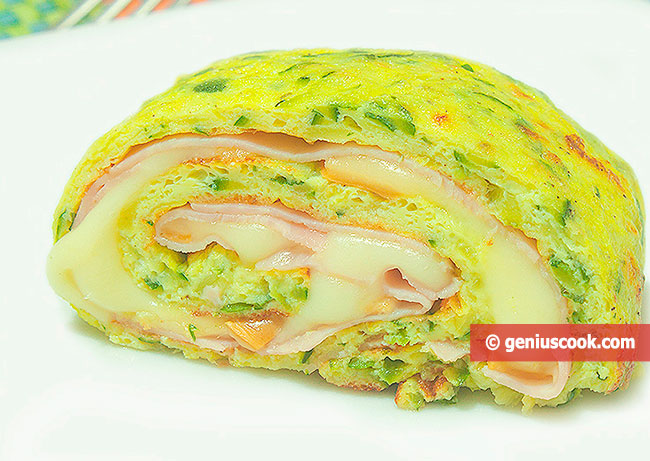 Zucchini Egg Roll with Cheese and Prosciutto