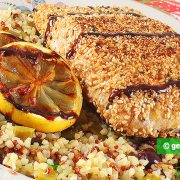 Grilled salmon In sesame seeds
